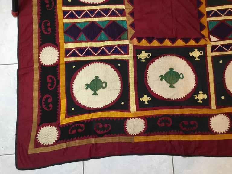 Uzbek Vintage Embroidered Suzani Textile For Sale