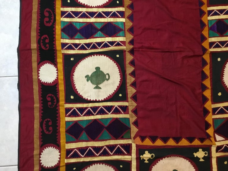 Mid-20th Century Vintage Embroidered Suzani Textile For Sale
