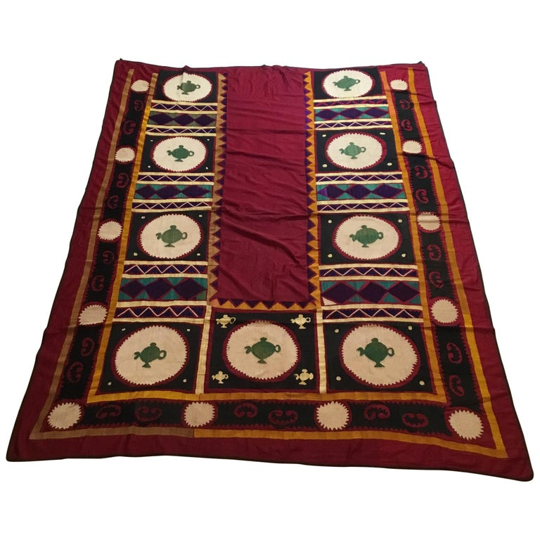 Vintage Embroidered Suzani Textile For Sale