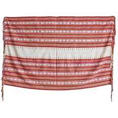 Vintage Embroidered Textile in Cotton with Fringes, Indonesia, 20th Century