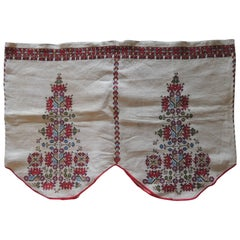 Vintage Embroidered Turkish Red and Green on Natural Linen Valance
