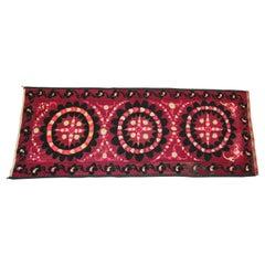 Vintage Embroidered Uzbek Suzani Pink and Black