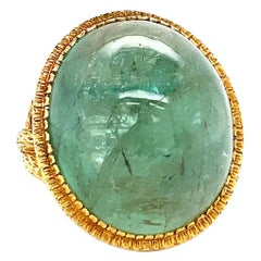 Vintage Emerald 18 Karat Gold Cocktail Ring