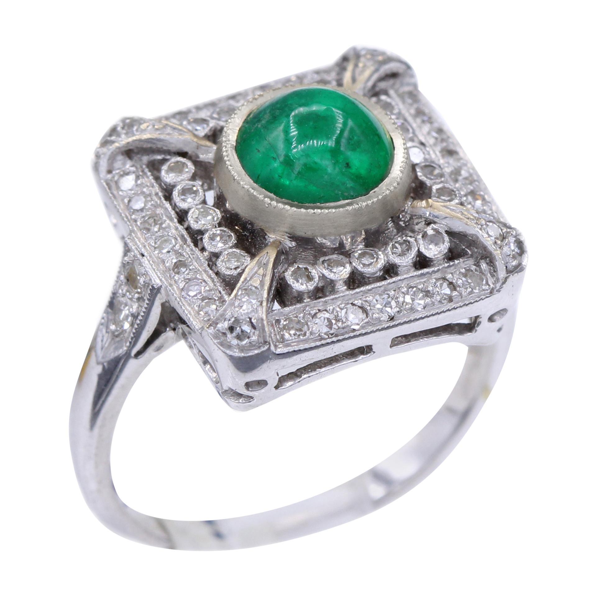 Vintage Emerald 18 Karat White Gold Ring with Diamonds Cabochon Emerald Ring