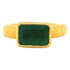 Vintage Emerald 22 Karat Gold Solitaire Ring