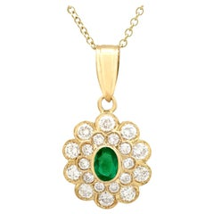 Vintage Emerald and 2.28 Carat Diamond and Yellow Gold Pendant