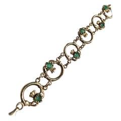 Vintage Emerald and 9 Carat Gold Claddagh Bracelet