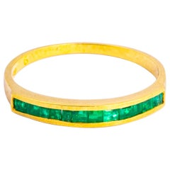 Vintage Emerald and 9 Carat Gold Half Eternity Band
