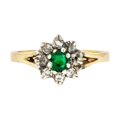 Vintage Emerald and Diamond 18 Carat Gold Cluster