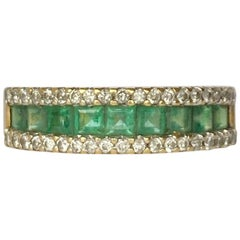 Vintage Emerald and Diamond 18 Carat Gold Half Eternity Band