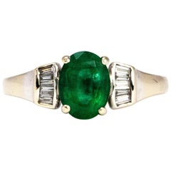 Vintage Emerald and Diamond 18 Carat Gold Ring