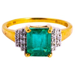 Vintage Emerald and Diamond 18 Carat Gold Solitaire Ring