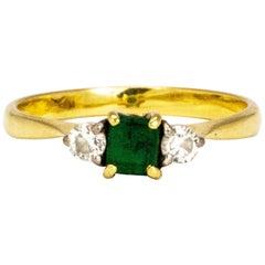 Vintage Emerald and Diamond 18 Carat Gold Three-Stone Ring