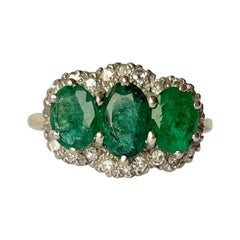 Vintage Emerald and Diamond 18 Carat Gold Triple Cluster Ring