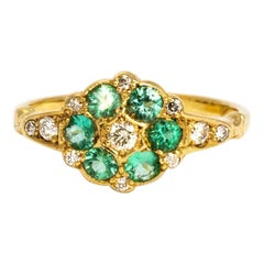 Vintage Emerald and Diamond 9 Carat Gold Cluster Ring