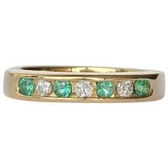 Vintage Emerald and Diamond 9 Carat Gold Half Eternity Band