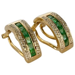 Vintage Emerald and Diamond 9 Carat Gold Hoop Clip-On Earrings