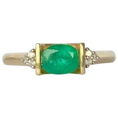 Vintage Emerald and Diamond 9 Carat Gold Ring