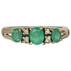 Vintage Emerald and Diamond 9 Carat Gold Three-Stone