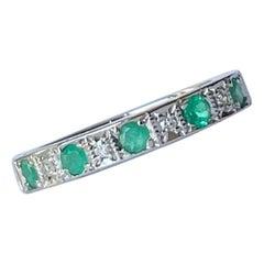 Vintage Emerald and Diamond 9 Carat White Gold Half Eternity Band
