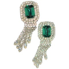 Vintage Emerald and Diamond-Esque Earrings