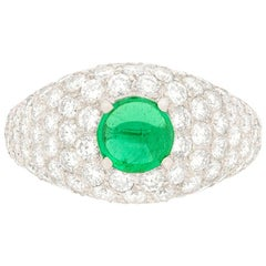 Vintage Emerald and Diamond French Bombe Ring, circa 1950s
