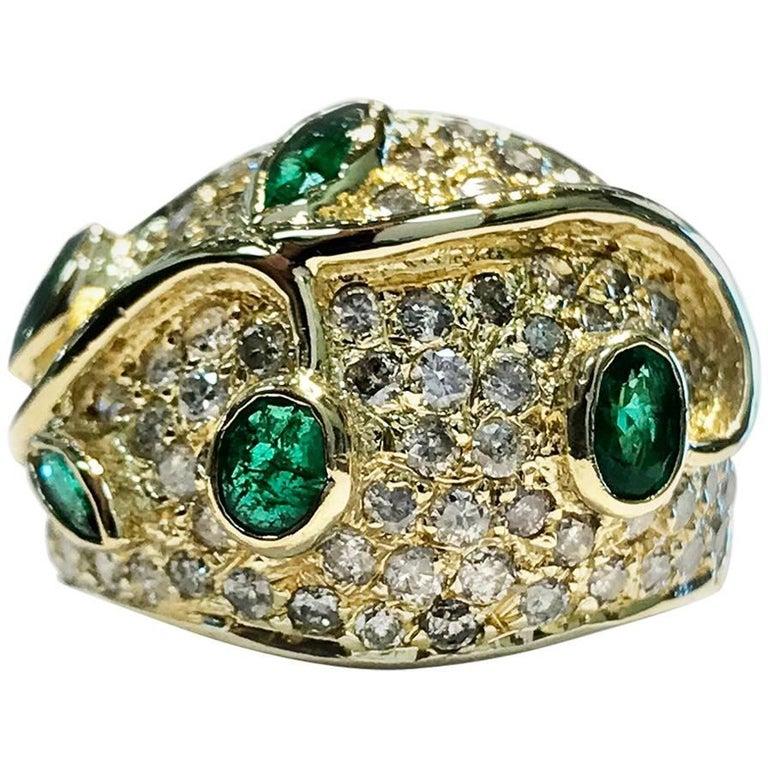 57ab22081c9eb Vintage Emerald Diamond Cocktail Ring