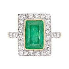 Vintage Emerald and Diamond Halo Ring, circa 1950s