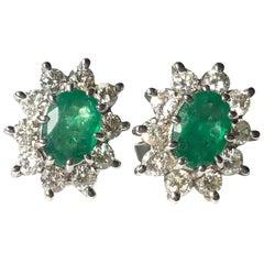 Vintage Emerald and Diamond Platinum Cluster Stud Earrings