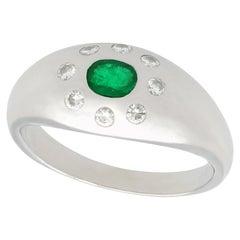 Vintage Emerald and Diamond Platinum Cocktail Ring, circa 1970