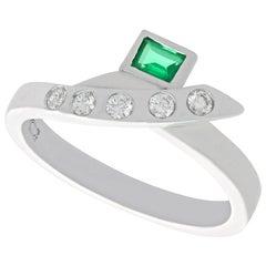 Vintage Emerald and Diamond Platinum Cocktail Ring