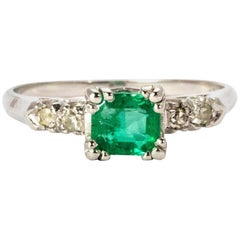 Vintage Emerald and Diamond Platinum Solitaire Ring