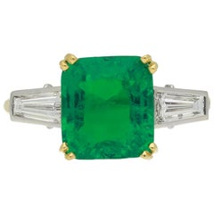 Vintage Emerald and Diamond Ring, English, circa 1950s