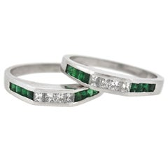 Vintage Emerald and Diamond Squared Band Ring Set