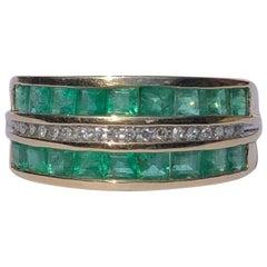 Vintage Emerald and Diamond Triple Row 9 Carat Gold Band