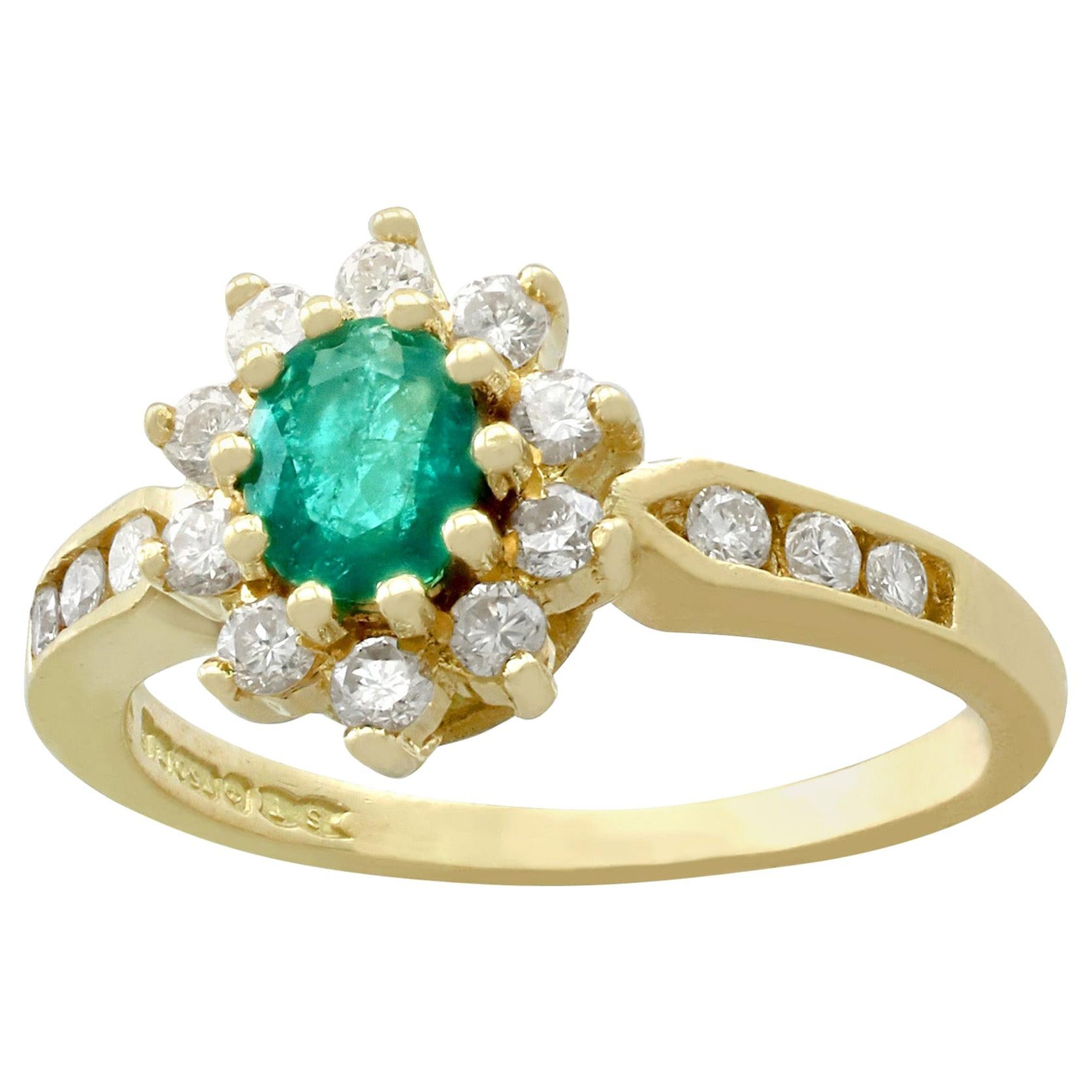 Vintage Emerald and Diamond Yellow Gold Cluster Ring