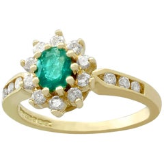 1990s Emerald and Diamond Yellow Gold Cluster Ring