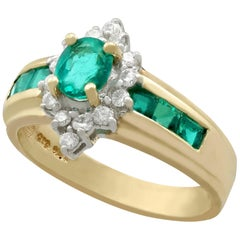 Vintage Emerald and Diamond Yellow Gold Cocktail Ring