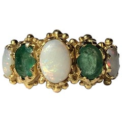 Vintage Emerald and Opal 9 Carat Gold Five-Stone Ring