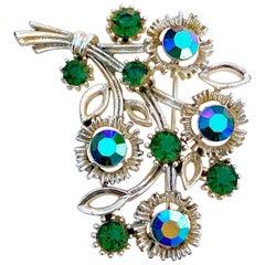 Vintage Emerald Aurora Borealis Crystal Bouquet Brooch By Lisner, 1960s