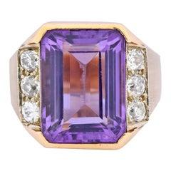 Vintage Emerald Cut Amethyst Diamond 14 Karat Gold Statement Ring