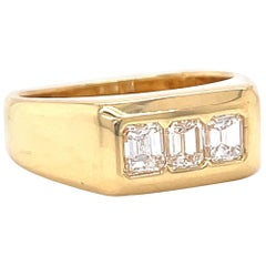 Vintage Emerald Cut Diamond 18 Karat Gold Ring