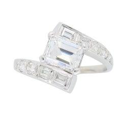 Vintage Emerald Cut Diamond Bypass Ring