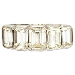 Vintage Emerald Cut Diamond Five-Stone 18 Carat White Gold Band