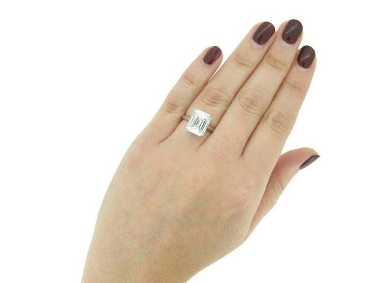 Vintage Emerald-Cut Diamond Solitaire Diamond Ring, circa 1950 For Sale 1