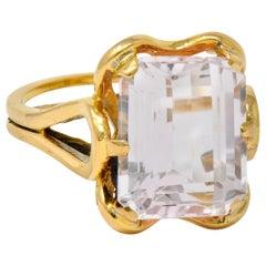 Vintage Emerald Cut Morganite 18 Karat Gold Statement Ring, circa 1980
