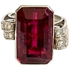 Vintage Emerald Cut Pink Rubellite Tourmaline and Diamond Platinum Ring-size 6.5