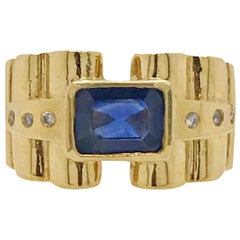 Vintage Emerald Cut Sapphire and Diamond Ring Set in 14 Karat Yellow Gold