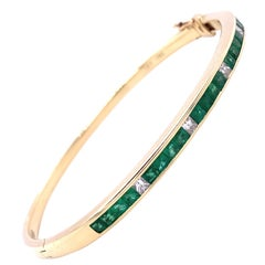 Vintage Emerald Diamond 14 Karat Gold Bangle Bracelet