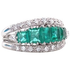 Vintage Emerald Diamond 18 Karat White Gold Five Stone Ring